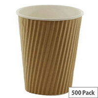 Kraft Ripple Disposable Paper Cups 8oz/250ml Brown for Hot/Cold Drinks (Pack of 500)