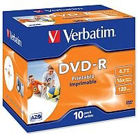 Verbatim DVD-R Recordable Disk Inkjet Printable Pack 10