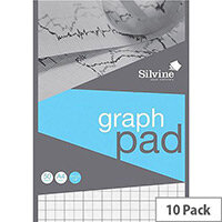 Silvine A4 Graph Pad 2mm 10mm 20mm Grid 50 Sheets 90gsm A421020 Pack 10