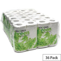 Maxima Green Recycled Toilet Tissue Paper Roll White 2 Ply Pack 36 Toilet Paper Rolls