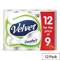 Velvet Comfort Toilet Rolls 210 Sheets 2-ply White Ref 1102092 Pack 12