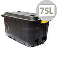 Strata 75 Litre Storage Trunk with Lid and Wheels Heavy Duty Black
