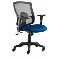 Fabric Medium Back Chair Blue Upholstery with Black Metal Frame