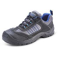 Click Footwear Mesh Active Trainers Size 9 Black & Blue - Steel Toe Cap & Midsole Protection, Shock Absorber Heel, Anti-static, Oil Resistant Sole, Slip Resistant Ref CF1709