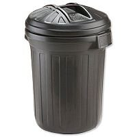 Strata Refuse Bin Secure Push-On Lid 80 Litre Dustbin Black - Hardwearing and durable plastic - Suitable for both indoor and outdoor use