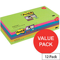 Post-it Super Sticky 101 x 100mm XL Notes Ruled Rainbow Colours 12 x 90 Sheets Pack 8 + 4 FREE