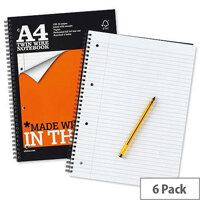 Silvine A4 Notebook Perforated Punched Ruled 160 Pages Pack 6