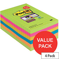 Post-it Super Sticky 101 x 152mm Large Notes Ruled Rainbow Colours 4 x Pack of 90 Sheets + FREE 2 x Pack of 90 Sheets
