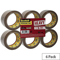 3M Scotch Heavy Packaging Tape High Resistance Hotmelt 50mmx66m Brown Pack of 6