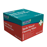Alcohol Free Sterile Wound Cleansing Wipes Sachets Box of 100 Astroplast 1601002