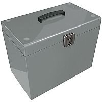 File Box with 5 Suspension Files and 2 Keys Steel A4 Silver