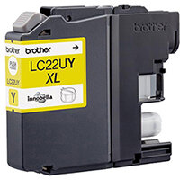 Brother LC22UY XL Yield: 1,200 Pages Genuine Ink Cartridge Yellow Ref LC22UY