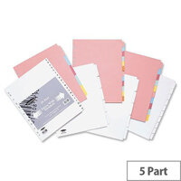Concord Subject Dividers Extra Wide 5-Part A4 Assorted
