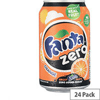 Fanta Zero Sugar Sparkling Orange Fruit Drink Cans 330ml Pack of 24