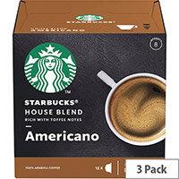 STARBUCK Americano Med Roast Capsules for Dolce Gusto Machine 12397697 Pack 36 (3x12 Capsule=36 Drinks)