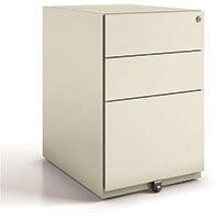 Tall Mobile Steel Pedestal Under Desk 3 Drawer 2 Stationery & 1 Filing Goose Grey Ref NWA52M7SSF-av4