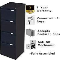 4 Drawer Steel Filing Cabinet Flush Front Black Bisley BS4E