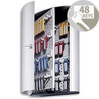 Durable Key Safe Cabinet 48 Key Capacity Silver