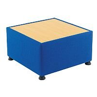 Glacier Reception Coffee Table With Wooden Top & Fabric Upholstered Sides Blue