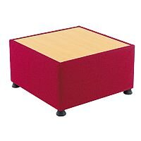 Glacier Reception Coffee Table With Wooden Top & Fabric Upholstered Sides Claret