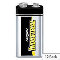 Energizer Industrial 9V Battery 6LR61 Pack 12