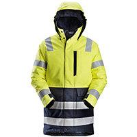 Snickers 1860 ProtecWork Insulated Parka Hi-Vis Work Jacket Class 3 Size S Regular Yellow & Navy