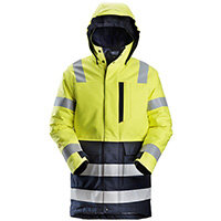Snickers 1860 ProtecWork Insulated Parka Hi-Vis Work Jacket Class 3 Size L Long Yellow & Navy