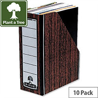 Fellowes Bankers Box Premium Magazine File Fastfold Internal Woodgrain Pack 10