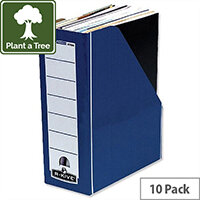 Fellowes Bankers Box Premium Magazine File Fastfold Blue and White Pack 10