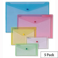 Snopake Polyfile Classic A5 Wallet File Clear Pack 5
