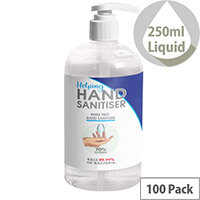 250ml Pump Hand Sanitiser - Fully Approved Ethanol Based Sanitising Liquid PCS 100380 Pack of 100