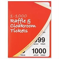 Cloakroom Raffle Tickets Numbered 1-1000 Assorted Colours Pack 6 Robinson Young