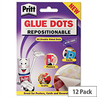 Pritt Glue Dots Repositionable Clear 64 per Wallet Pack 12
