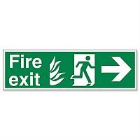 Safety Sign Fire Exit Running Man Arrow Right 150x450mm Self-Adhesive