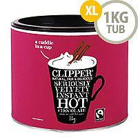 Clipper Fairtrade Hot Drinking Chocolate Instant Powder Organic 1kg Tin