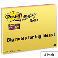Post-it Super Sticky Meeting Notes 45 Sheets Pads 200x149mm Bright Colours Pack 4