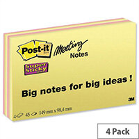 Post-it Super Sticky Meeting Notes 45 Sheets Pads 149x98.4mm Bright Colours Pack 4