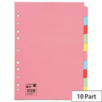 10-Part Subject Dividers A4 Multipunched Recycled Assorted 5 Star