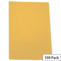 Square Cut Folders Recycled Pre-punched Foolscap Yellow Pack 100 5 Star