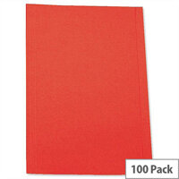 Foolscap Square Cut Folder Recycled Pre-punched Red Pack 100 5 Star