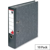 Foolscap Lever Arch File Cloudy Grey 5 Star Pack 10 – 2 Rings, 500 to 600 Page Capacity, Reinforced Edge, Spine Label, Finger Pull Ring & Supports Foolscap Sheets (29748X)