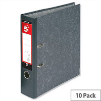 5 Star Office Lever Arch File 70mm A4 Cloudy Grey Pack of 10