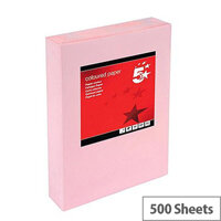 5 Star Multifunctional Pink A4 Paper 80gsm Ream of 500 Sheets