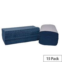 2Work Blue I-Fold 1-Ply Paper Hand Towels 242x222mm 240 Towels Per Sleeve 15 Sleeves (3600 Sheets) HIB136
