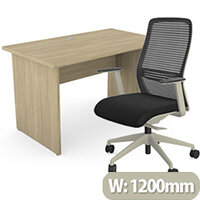 Home Office Ashford Desk W1200xD700mm 25mm Desktop Panel Legs Urban Oak & NV Posture Office Chair with Contoured Mesh Back and Adjustable Lumbar Support Lime White Frame Black Seat