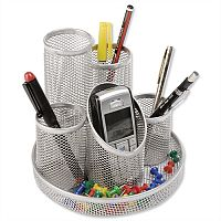 Mesh Pencil Pot 5 Tube Silver Osco