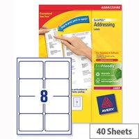 Avery L7165-40 Address Labels Laser 8 per Sheet 99.1x67.7mm White 320 Labels