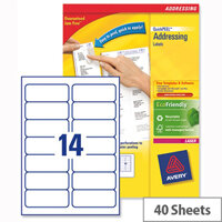 Avery L7163-40 Laser Address Labels 14 per Sheet 99.1x38.1mm White 560 Labels