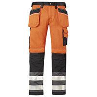 """Snickers High-Vis Trousers Orange cl 2 Waist 30"""" Inside leg 30"""" WW1"""