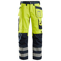 Snickers 3333 High-Visibility Trousers With Holster Pockets Class 2 Size 184 (W30xL28inch) High Vis Yellow & Navy